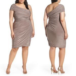 Eliza J Ruched One-Shoulder Knee-Length Dress Plus